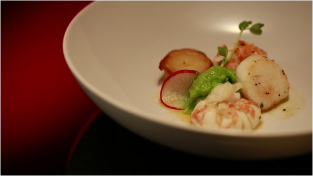 Poached Marron with Scallops Recipe