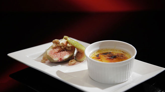 Kat and Andre White Chocolate Crème Brûlée with Baked Figs. Source ...