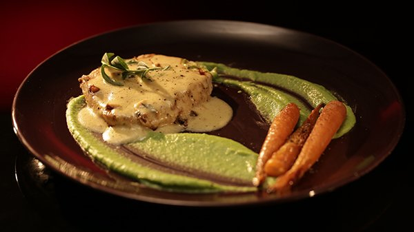 Grilled Swordfish with Pea Puree and Tarragon Sauce
