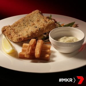 crumbed snapper with thrice cooked chips lime mayo and asian slaw