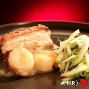 Milk Braised Pork Belly with Scallop and Apple