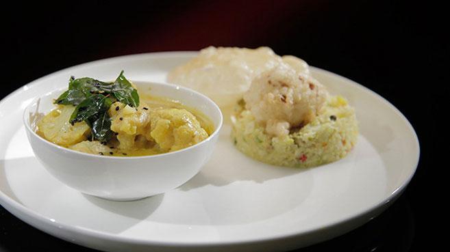 Eva and Debra Cauliflower Curry with Cauliflower Rice and Pakora recipe