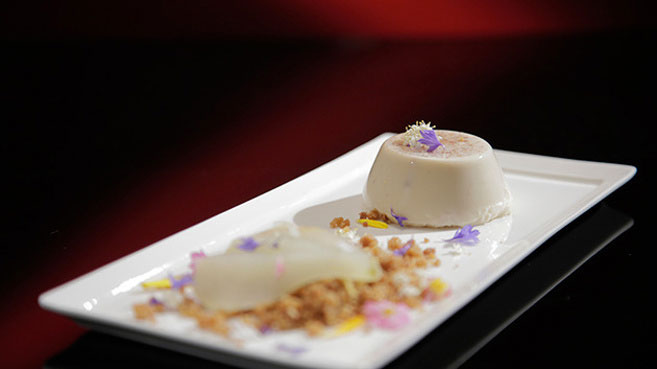 Eva and Debra Five-Spice Panna Cotta with Poached Pear Recipe