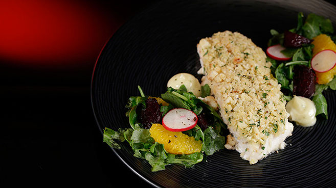 Jac & Shaz Macadamia Crusted Barramundi with Beetroot and Orange Salad Recipe