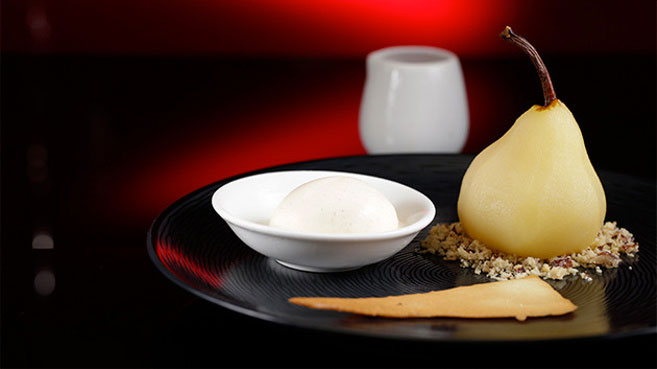 Jac & Shaz Poached Pears with Cinnamon Ice-Cream and Hazelnut Crumb Recipe