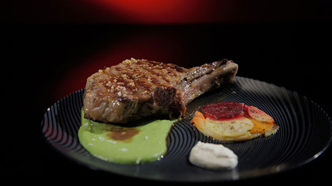 Wil & Steve Rib-Eye with Root Vegetable Galette and Port Jus Recipe