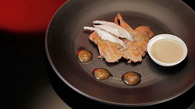 Drasko & Bianca Tea-Smoked Quail with Mushroom Cream recipe