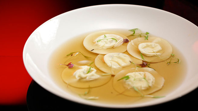 Ash & Camilla Three Cheese Ravioli with Game Consommé Recipe