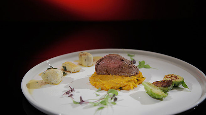 Ash & Camilla Veal Loin with Pumpkin Beurre Noisette Purée and Truffle Gnocci Recipe