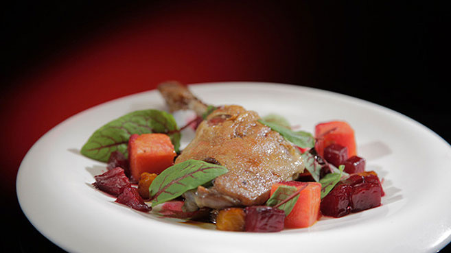Confit Duck leg with honeyed Beetroot and Compressed Watermelon
