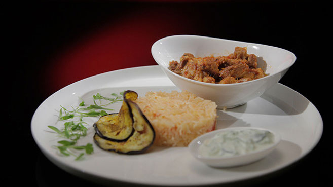 Eva and Debra Pork Vindaloo with Spiced Eggplant Recipe