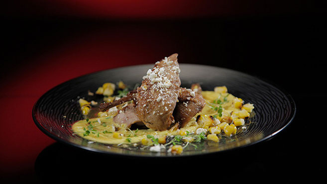 Jac & Shaz Quail with Corn and Jus Recipe