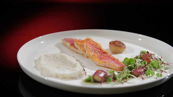 Will & Steve Red Mullet with Jerusalem Artichoke and Basil Recipe