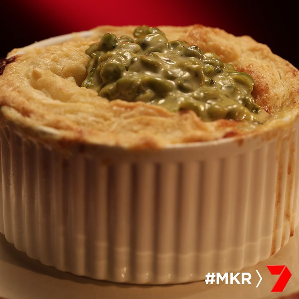 chicken leek and zuchini pie with mushy minty peas
