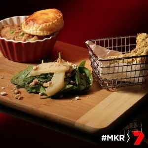rabbit pie with spinach feta and stewed pear salad