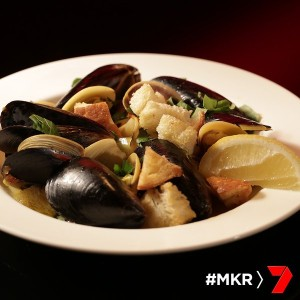 saffron cockles and mussels in broth with croutons