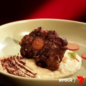 Braised Oxtail with Jerusalem Artichoke Purée and Horseradish Cream