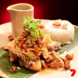 Crispy Fried Barramundi with Apple, Coriander and Tamarind Dressing