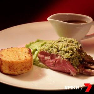 lamb rack with crispy polenta and pea puree