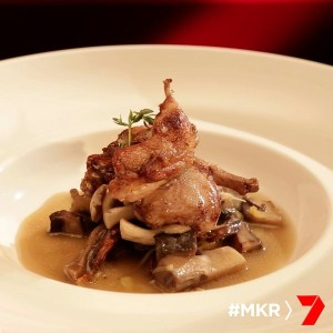 quail with a mushroom and thyme broth