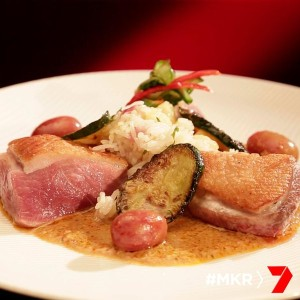 seared duck breast with a thai curry sauce pineapple fried rice